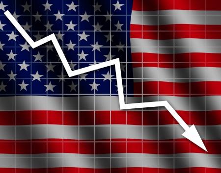 going down: La bandera de EE.UU. y el gr�fico flecha hacia abajo