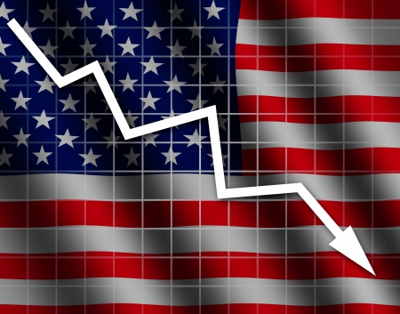 going down: The USA flag and arrow graph going down