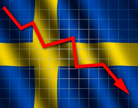 The Swedish flag and arrow graph going down Stock Photo - 18659003