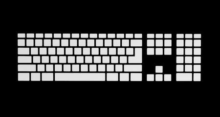 Blank the keyboard keys  Isolated on blank Stock Photo - 18659021