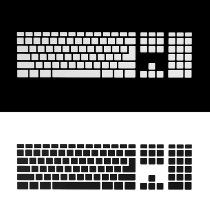 Blank the keyboard keys  Isolated white and black Stock Photo - 18659040