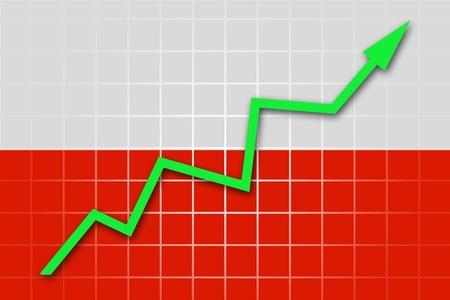 polish flag: The Polish flag and arrow graph going up