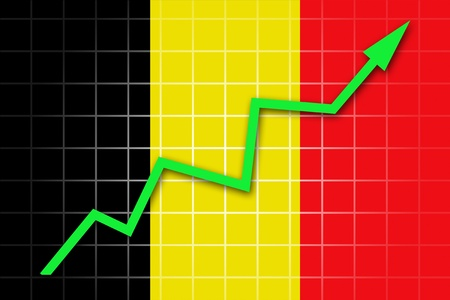 The Belgian flag and arrow graph going up photo