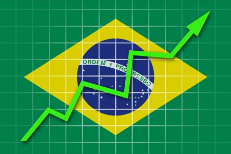 going up: The Brazilian flag and arrow graph going up