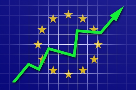 going up: The European Union Flag and arrow graph going up