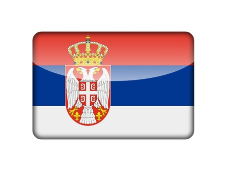 The Serbian flag in the form of a glossy icon  photo