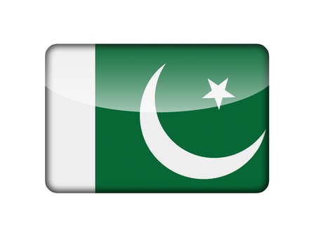 pakistani: The Pakistani flag in the form of a glossy icon  Stock Photo