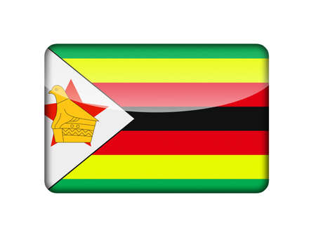 The Zimbabwe flag in the form of a glossy icon  photo