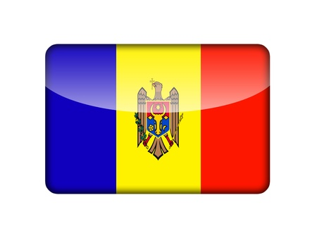 aruba flag: The Moldovan flag in the form of a glossy icon  Stock Photo
