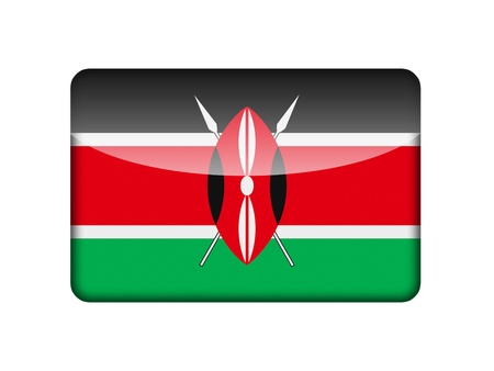 The Kenyan flag in the form of a glossy icon  photo