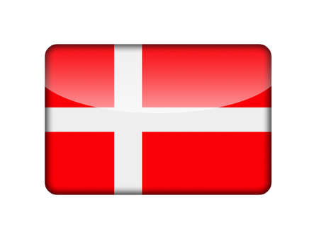aruba flag: The Danish flag in the form of a glossy icon  Stock Photo