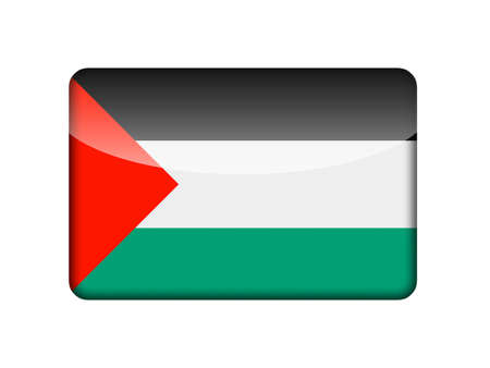 palestinian: The Palestinian flag in the form of a glossy icon  Stock Photo