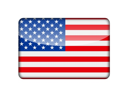 The USA flag in the form of a glossy icon  photo