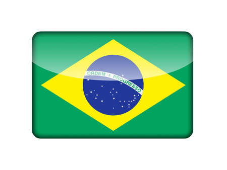 The Brazilian flag in the form of a glossy icon  photo