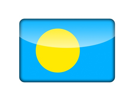 aruba flag: The Palau flag in the form of a glossy icon  Stock Photo
