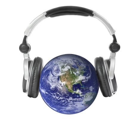 Earth and headphones  Isolated  photo