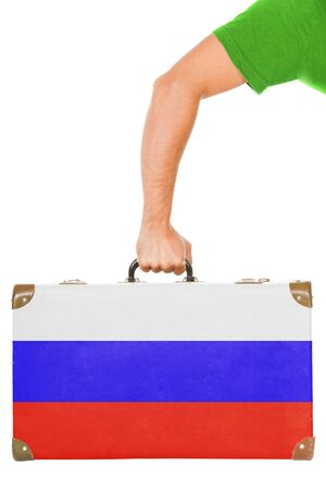 The Russian flag on a suitcase  Isolated on white  photo