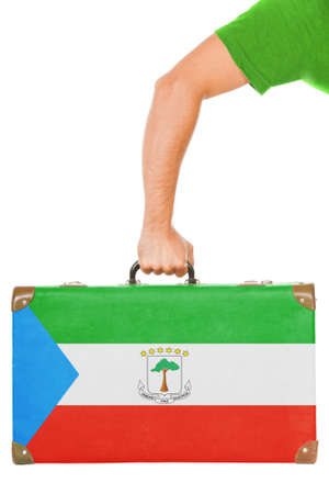 equatorial guinea: The Equatorial Guinea flag on a suitcase  Isolated on white