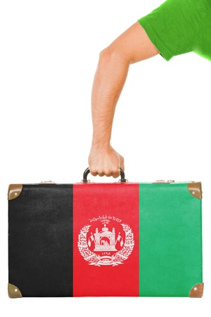 afghan flag: The Afghan flag on a suitcase  Isolated on white