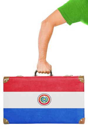 paraguayan: The Paraguayan flag on a suitcase  Isolated on white