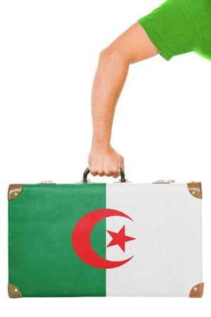 algerian flag: The Algerian flag on a suitcase  Isolated on white