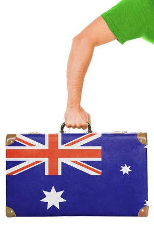 The Australian flag on a suitcase  Isolated on white  photo