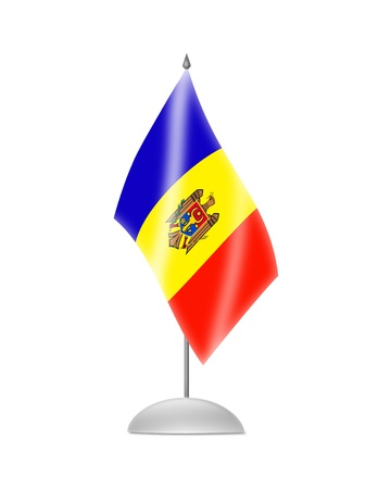 moldovan: The Moldovan flag  Table Flag  Isolated on white