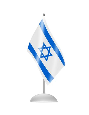 The Israeli flag  Table Flag  Isolated on white  photo