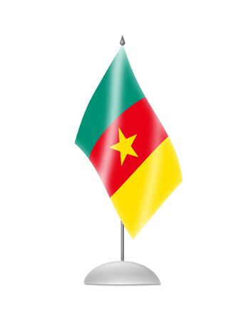 cameroonian: The Cameroonian flag  Table Flag  Isolated on white