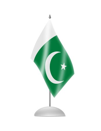 pakistani: The Pakistani flag  Table Flag  Isolated on white  Stock Photo