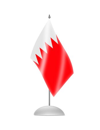 The Bahraini flag  Table Flag  Isolated on white  photo