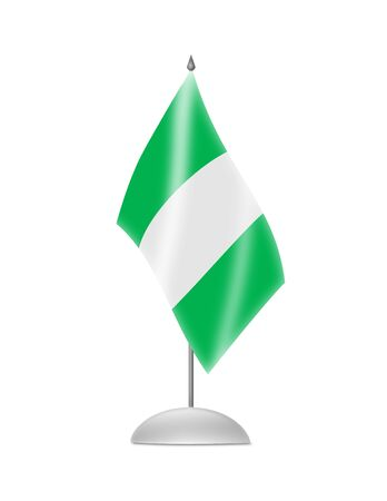 nigerian: The Nigerian flag  Table Flag  Isolated on white  Stock Photo