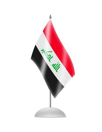 iraqi: The Iraqi flag  Table Flag  Isolated on white  Stock Photo