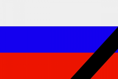 The Russian flag in mourning style  Illustration illustration