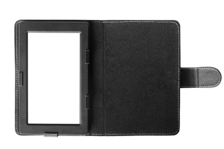 Black tablet computer with case isolated over white background  photo