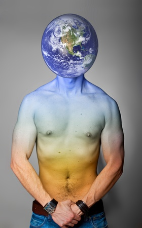 Planet earth with human body  Elements photo