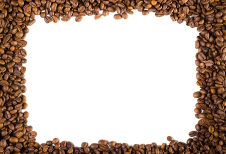 Coffee beans in a frame  Isolated on white  photo