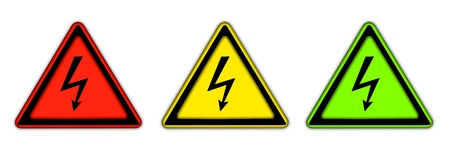volte: Three icons with sign of electricity  Isolated Stock Photo