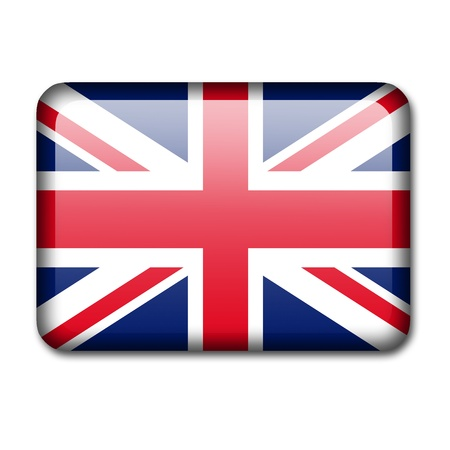 Glossy icon in the style of the UK flag  Isolated Stock Photo