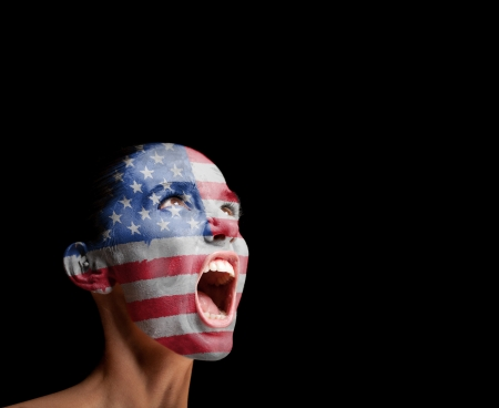 The USA flag on the face of a screaming woman  concept photo