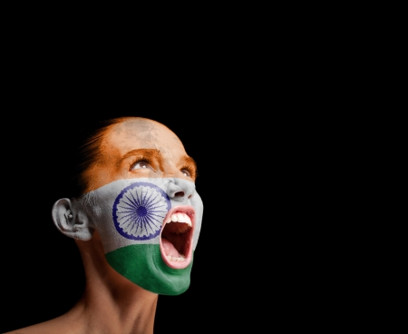protest signs: The Indian flag on the face of a screaming woman  concept Stock Photo
