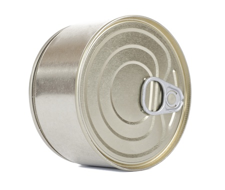 Bank of canned food  Isolated on white  photo