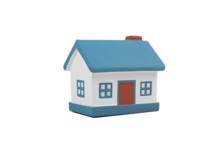 dollhouse: A model house isolated on a white background Stock Photo