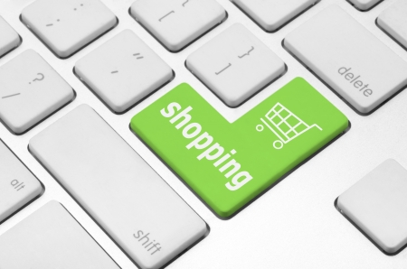 Business finance concept  Shopping cart key on the computer keyboard Stock Photo - 20341420