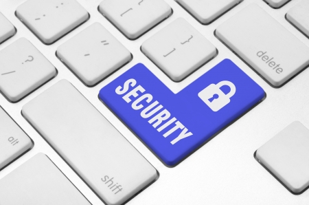 Business finance concept  Security key on the computer keyboard photo