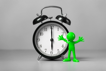 wake up call: Green man and an alarm clock  The concept of time