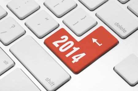 New year concept  2014 key on the computer keyboard Stock Photo - 20612310