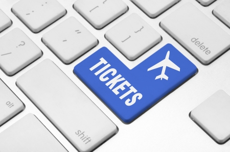 e ticket: Business concept  Buy tickets key on the computer keyboard