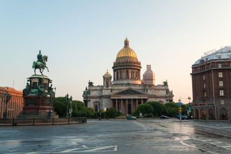 isaac s: Saint Isaac s Cathedral and Nicolas the 1st Statue in Saint Petersburg, Russia