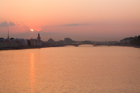 Sunrise on the River Neva, St  Petersburg, Russia  photo